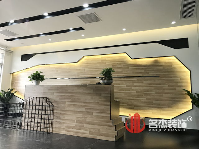 乐博士个性前台装修设计效果图 乐博士公共办公区装修设计实景图